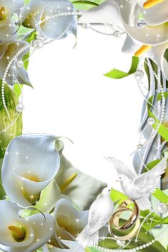 Beautiful Flowers Wedding Transparent Frame