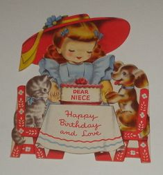 "Vintage birthday greeting card, girl with cat and dog party, 5 3/4"" used"