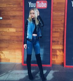 Jordyn Jones in our fav look for winter: over-the-knee boots #LoveGUESS