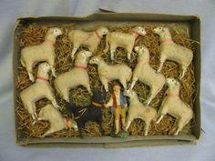 Circa 1900 Boxed early toy Sheep Herder,11 Sheep, black dog c Christmas