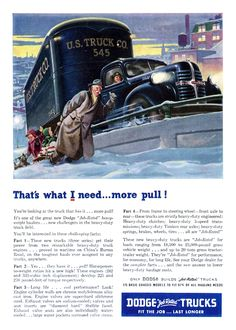Dodge Trucks Ad (February, 1947): That's what I need... more pull!