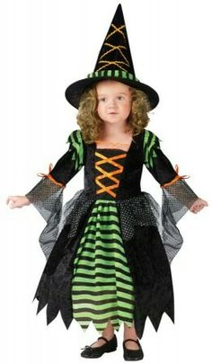 Cute witch Halloween costume for little girl. Costume found on www.freakyfindz.com