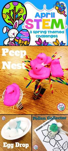 Engineer a Peep Nest, Egg Drop, and Pollen Collector! 3 engaging, spring-themed STEM Challenges that are just right for elementary students | Easter STEM | April STEM