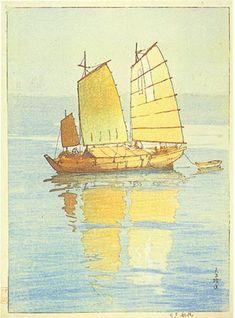 Sailing Boats, Evening Glow  by Hiroshi Yoshida, 1921