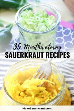 35 of the best homemade sauerkraut recipes. Learn how to make your own sauerkraut from simple, sweet, spicy, savory and other styles! Ruby red cabbage, turmeric jalapeno, dilly, pumpkin cranberry and even kimchi. Tantalize your taste buds and add probiotics to your meals. Fermented foods for gut health. #vegetarian #cabbagerecipes