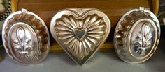 3 Vintage AluminumJello MoldsA Heart Shaped & 2 by ZiggyzAttic