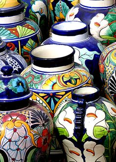 Mexican pottery - I have a small collection of the Lily pattern puchased in Tijuana.