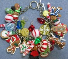 charm bracelet made with miniature tree ornaments! fun and inexpensive could make several for gifts!