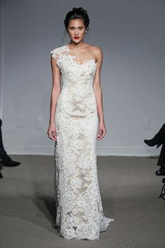 Gorgeous one shoulder lace wedding dress