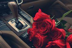 Imagem de rose, car, and red