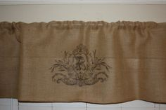 Keep your home decor under wraps with these 100% Burlap Natural unlined valances. These curtains have solid natural burlap and are the perfect compliment to todays primitive or country interiors. Please, choose your own LETTER from the drop-down menu to be placed inside monogram. Valance-59W x 20L (150 cmx51 cm) This valance is 100% cotton, woven into a soft, natural, burlap look fabric, unlined. It measures 20 in height and 59 width with a 2.5 rod pocket. If you need in another size…