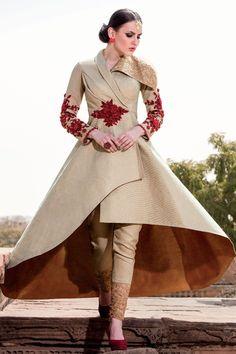 Samyakk Golden Silk Embroidered Salwar Suit