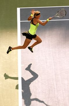 Airborne forehand:  Viktoria Azarenka in the US Open 2012 Women's Final.