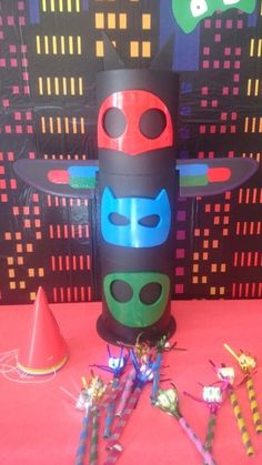 pj masks birthday, totem pole | Pj Masks Party | Pinterest