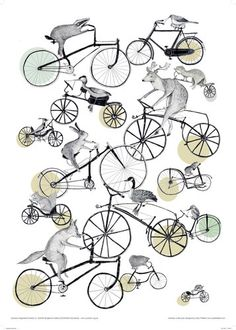 This unique design by Sara Thielker combines a vintage feel with the surreal, featuring an array of British animals on bikes. An attractive wrapping paper for all occasions. Bicycle Art, Bicycle Painting, Paper Animals, Cycling Art, Word Art, Artsy Fartsy, Art Lessons, Print Patterns, Poster Prints