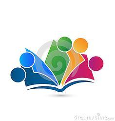 Teamwork book logo vector education vivid colors design template