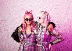 BE MY BFF - SOULAN ZEE DION JUMPSUIT, LIZA TUBE & STEVIE SHORTS IN PINK PLAID, TIE ME FISHNET TOP, UNDERGROUND SHADES & PLAYWORLD SUNGLASS CHAINS, INDY ANNA LOVE SHACK STICKER JACKET Besties, Bff, Anna Love, Rip N Dip, Fishnet Top, J Valentine, Ragged Priest, Faux Fur Jacket, Whats New