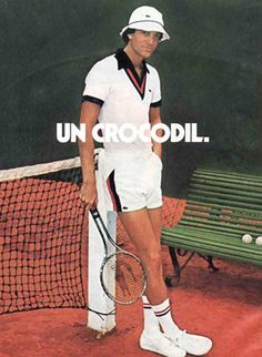 This is a Lacoste advertisement in the Most men began to change their style to keep up with the time. Lacoste began to advertise this new style to men, causing style to constanly transform. Tennis Fashion, Sport Fashion, Retro Fashion, Fashion Styles, High Fashion, Lacoste, Mode Vintage, Vintage Men, Retro Vintage