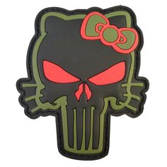 Punisher Skull Hello Kitty PVC 3D Rubber Olive Drab Green 2AFTER1 Velcro Patch | eBay