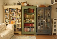 China cabinets as bookshelves.