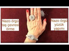 Nazo örgü ile taş çevresi örerek yüzük yapımı - YouTube