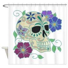 Sugar Skull Shower Curtain for