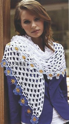 White Shawl with Flower Border free crochet graph pattern
