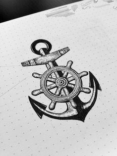 Anchor and Ship Wheel Tattoo