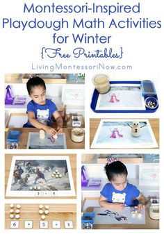 These Montessori-inspired playdough math activities use free printables for activities such as snowball numbers and counters, hands-on math operations, greater than, and less than. The activities can be adapted for toddlers through first graders.