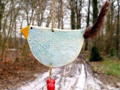 Keramik Huhn Vogel Baumschmuck Gartendekoration von gedemuck