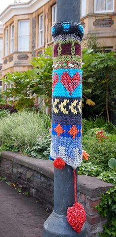 Yarn bombing..great way to pretty up something.