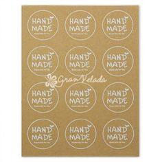 """Pegatinas  color Kraft, modelo """"Hand Made redondas"""", blister de 12 stickers."""