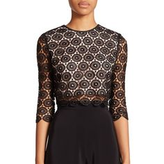 NHA KHANH Danica Lace Crop Top ($355) ❤ liked on Polyvore featuring tops, apparel & accessories, sheer crop top, keyhole top, 3/4 sleeve tops, see through tops and black crop top
