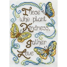 Butterfly Kindness Mini Counted Cross Stitch Kit 5inX7in 14 Count