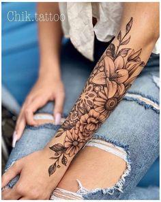 Arm Sleeve Tattoos For Women, Half Sleeve Tattoos Forearm, Unique Half Sleeve Tattoos, Feminine Tattoo Sleeves, Quarter Sleeve Tattoos, Girl Arm Tattoos, Hand Tattoos For Women, Feminine Tattoos, Wolf Tattoos