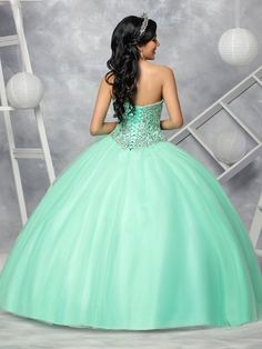 Beaded Strapless Quinceanera Dress by Q by DaVinci Style 80346