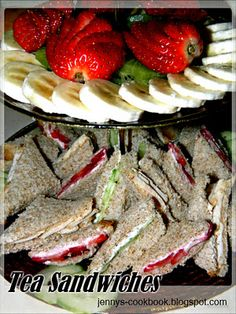 Jenny's Cookbook: Tea Sandwiches (strawberry, cucumber, chicken)