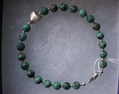 Handmade African turquoise & sterling silver brushed heart bracelet