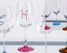 Decorated Wine Glasses Wine Glass And Rhinestones On