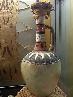 An Egyptian long-necked vases that were employed to aid against evaporation. From the Tomb of Kha, Deir el-Medina, Dynasty XVIII.