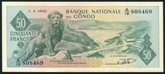 World currency - Democratic Republic of the Congo 50 Congolese Franc banknote of 1962, issued by the National Bank of Congo - Banque Nationale du Congo. Congo banknotes, Congo paper money, Congo bank notes.  Obverse: Lion on rocks, bridge right. Lake in background.