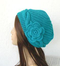 Hand Knit  hat  Slouchy Beanie Victorian  Hat  Cloche  by Ebruk,