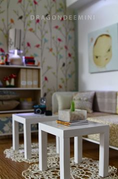It's blurry, but I love the birds in trees wallpaper/stencil on the wall...this would be pretty on one wall in bathroom or bedroom.