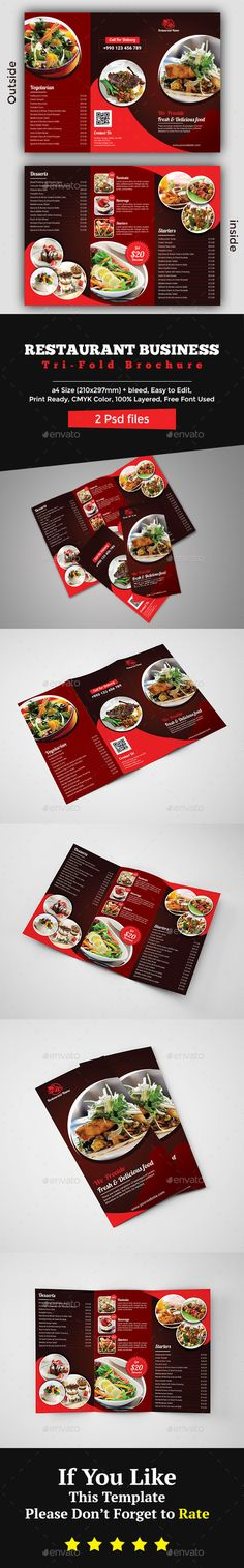 #Restaurant Brochure Template - #Brochures Print Templates Download here: https://graphicriver.net/item/restaurant-brochure-template/20466316?ref=alena994
