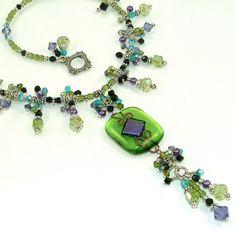 Lime & Purple Queen's Cascade  Fully Beaded by SylviaSwaseyDesigns, $188.00
