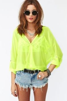 Neon Wrap Blouse - Yellow in  What's New at Nasty Gal
