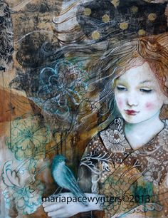 I Am Lost In Dreams Of You- Original mixed media/encaustic painting by Maria Pace Wynters