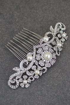 Vintage Style Crystal and Pearls Bridal Hair Comb from EarringsNation Bridal Hair Accessories Vintage Style Weddings Classic Weddings