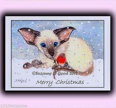 LARGE SIAMESE CAT KITTEN & ROBIN IN SNOW GLITTER CHRISTMAS CARD SUZANNE LE GOOD   eBay