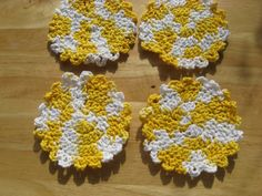 Yellow and White Crocheted Coasters by GrandmothersDresser on Etsy